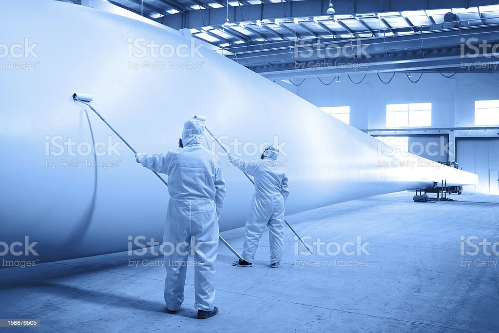 Painting for Wind turbine blade stock photo