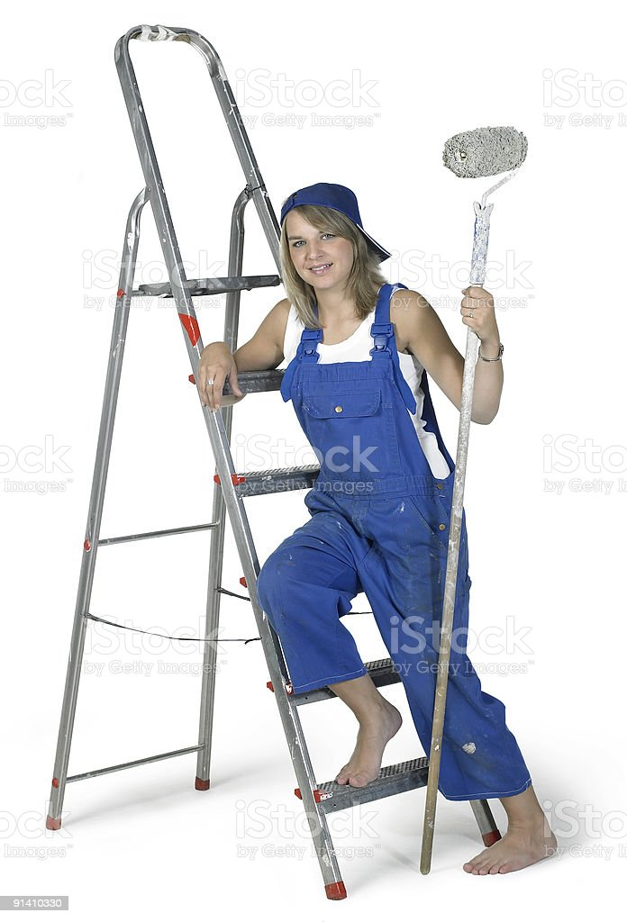 painting girl lean on a ladder royalty-free stock photo