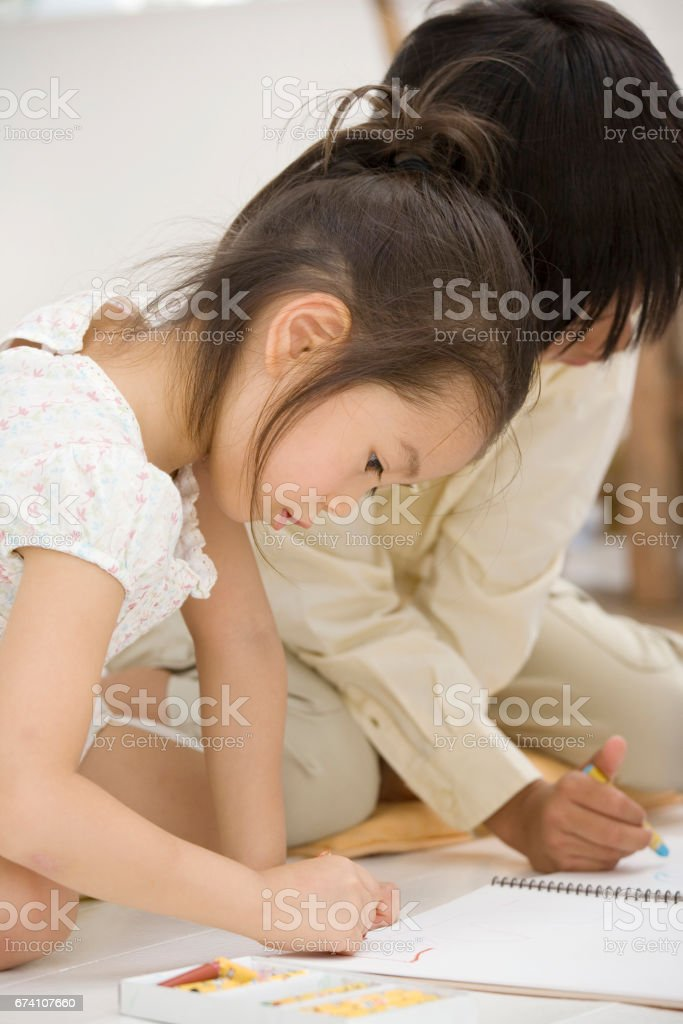 Painting girls and boys royalty-free stock photo