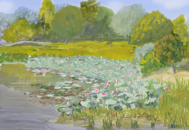 painting gouache on paper - blossoming lotuses in volga river delta - impressionist painting stock photos and pictures