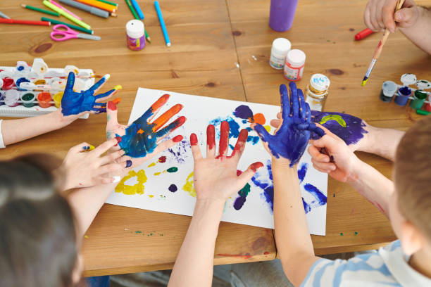 Painting hands stock photo
