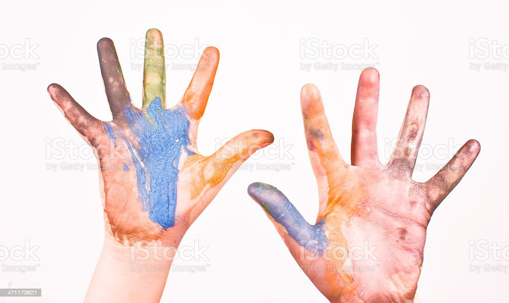 Painting hands royalty-free stock photo