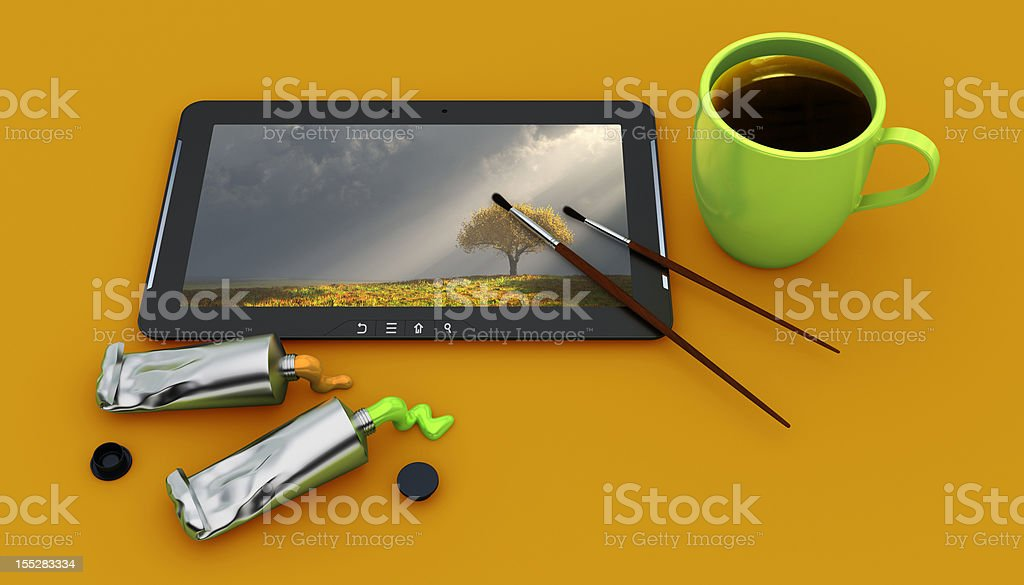 Painting in Digital Tablet royalty-free stock photo