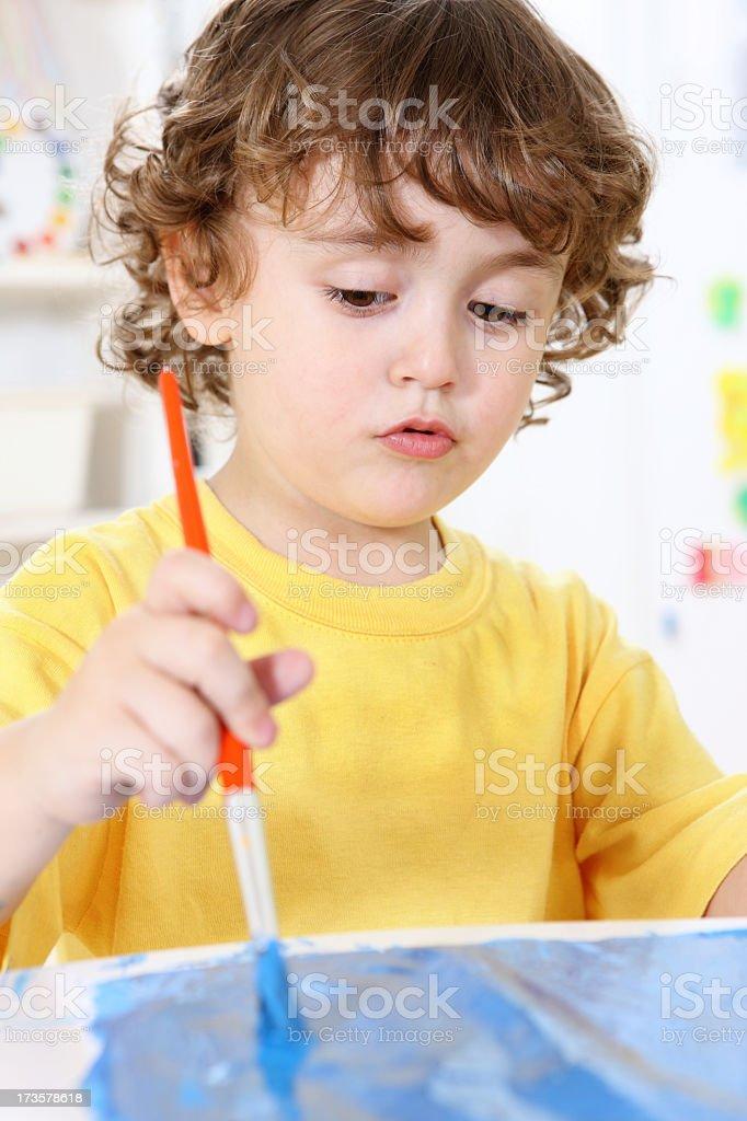 painting in preschool royalty-free stock photo