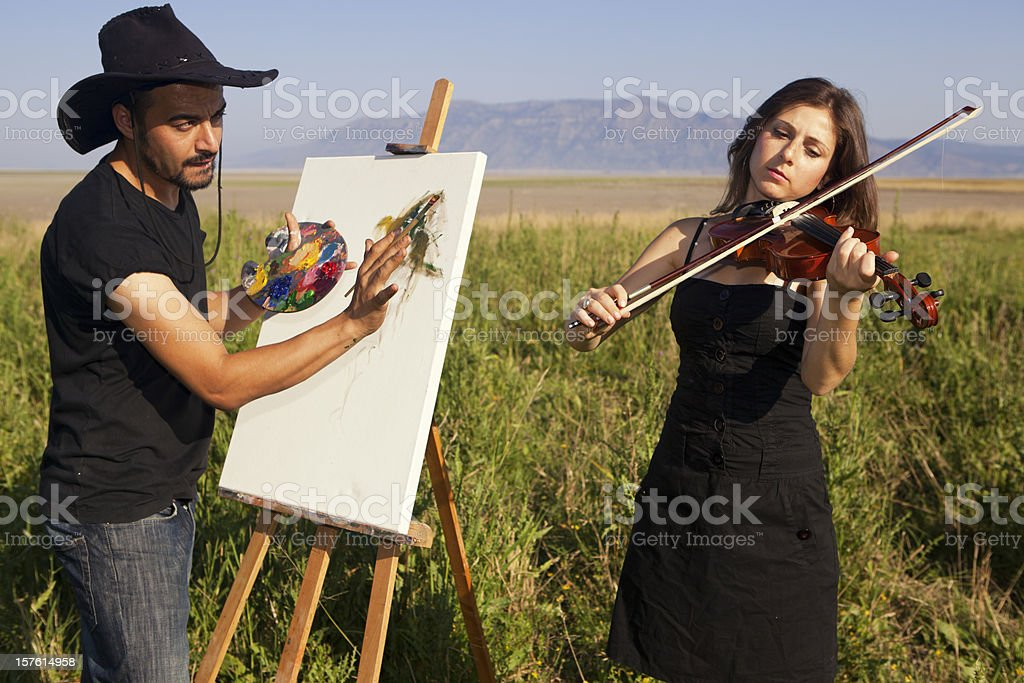 painting in the nature royalty-free stock photo