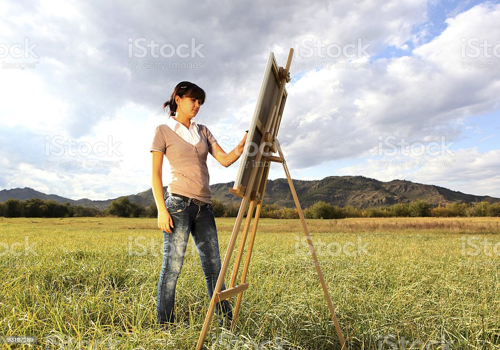 Painting landscape royalty-free stock photo