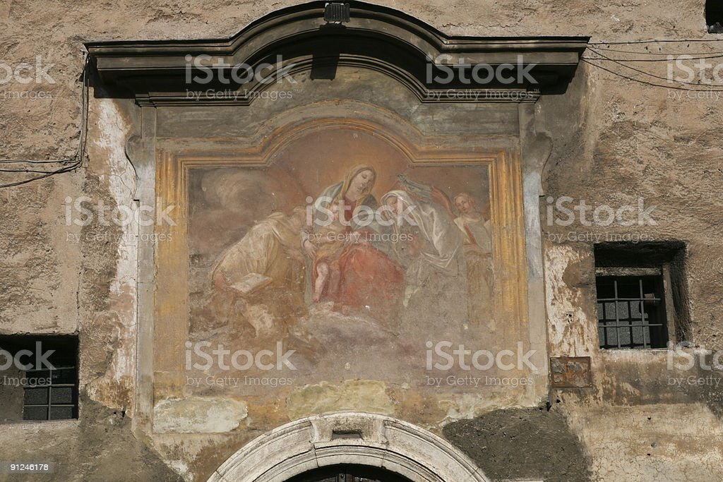 Painting Madonna. Rome stock photo