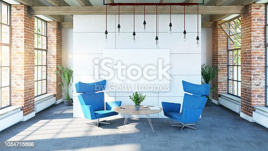 istock Painting mock-up design in loft interior 1054715866