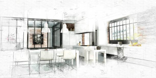 Peinture d'une cuisine moderne Loft - Photo