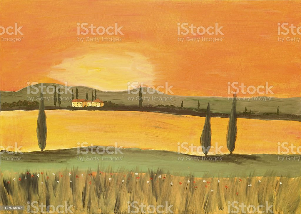 Painting of a Tuscan Landscape royalty-free stock photo