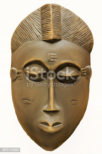 istock Painting of a Wooden African Tribal Ceremonial Mask 870123302