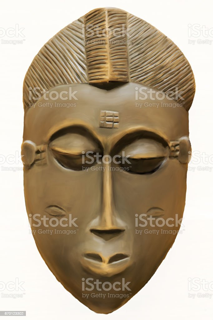 Painting of a Wooden African Tribal Ceremonial Mask stock photo