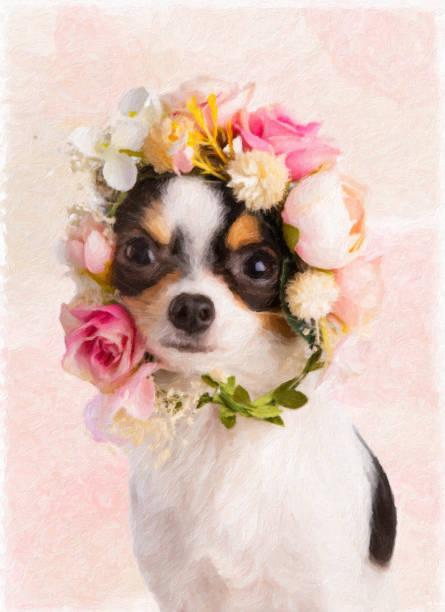 Malerei von einem jungen Chihuahua mit einem Kranz – Foto