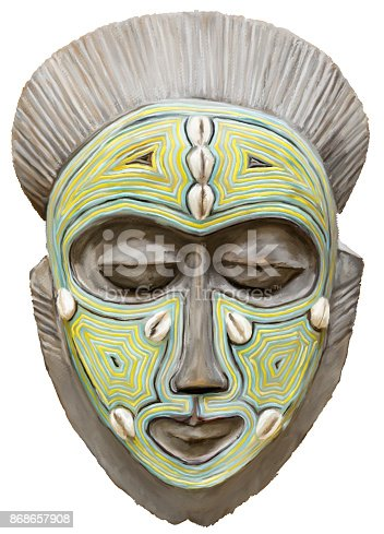 istock Painting of an African Tribal Ceremonial Mask 868657908