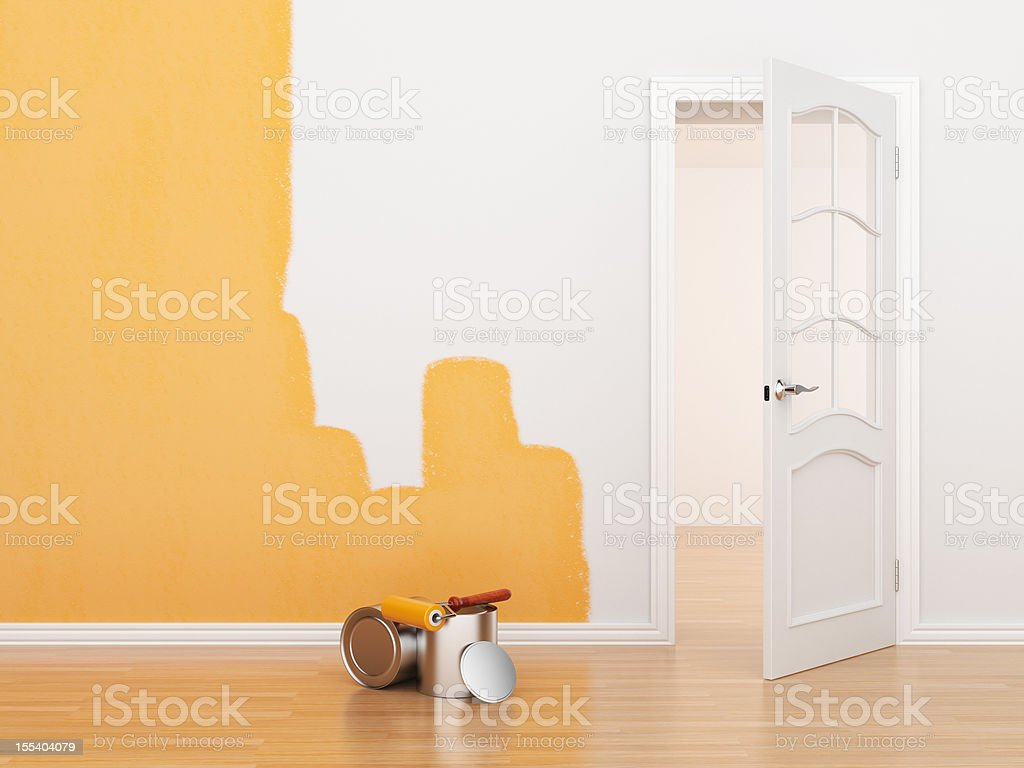 Painting of an empty room 3D stock photo