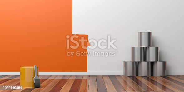 istock Painting of an empty wall. Renovation concept. 3D illustration 1022140864
