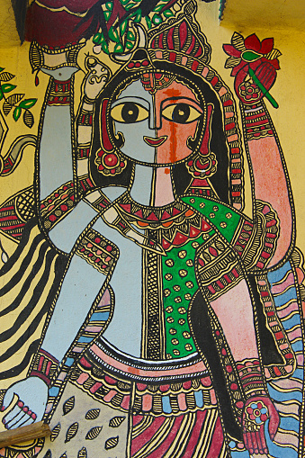 Painting of Ardhanarishwara on wall, Madhubani, Bihar, India