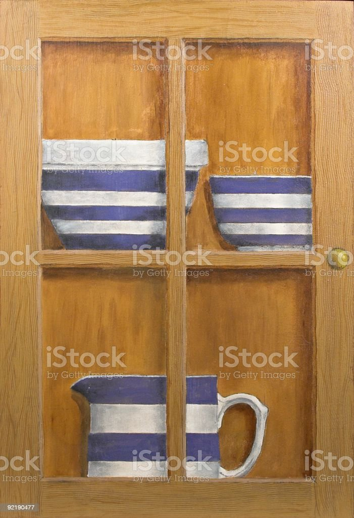 Painting Of Blue And White Crockery stock photo