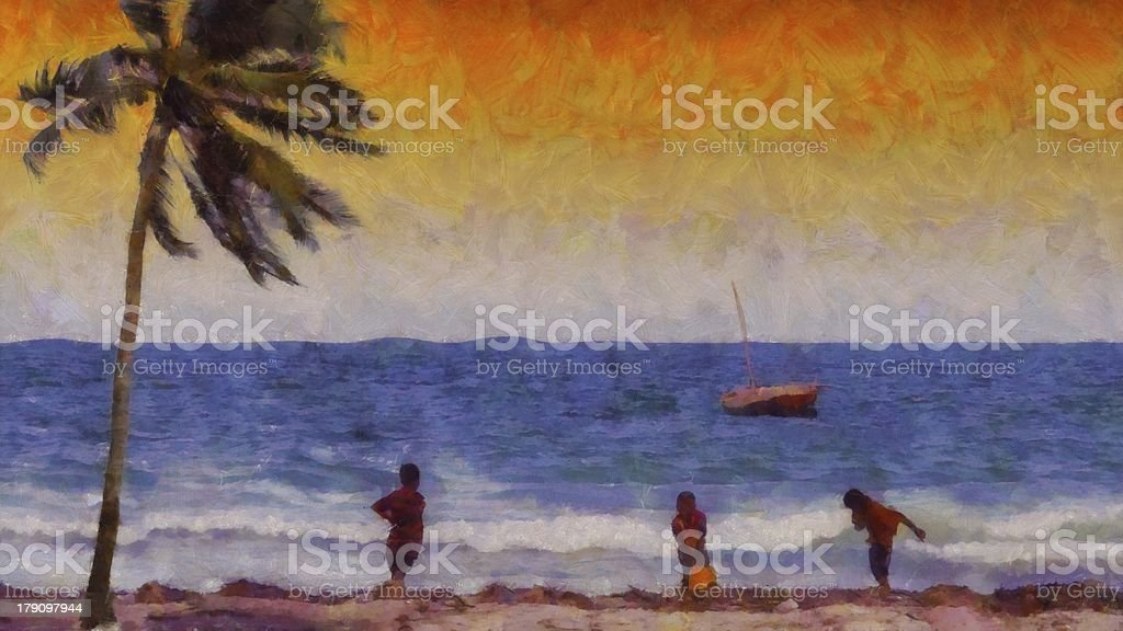 Painting of children playing on the beach at sunset sunrise royalty-free stock photo