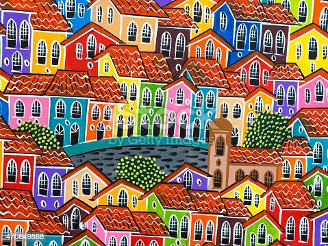 istock Painting of Colorful Pelourinho Historic Centre in Salvador, Bahia, Brazil 470849868