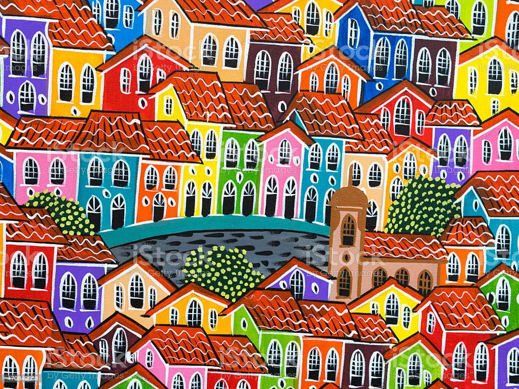 Painting of Colorful Pelourinho Historic Centre in Salvador, Bahia, Brazil stock photo