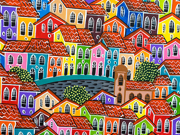 Painting of Colorful Pelourinho Historic Centre in Salvador, Bahia, Brazil Painting of colorful Pelourinho Historic Centre in Salvador, Bahia, Brazil. latin american culture stock pictures, royalty-free photos & images