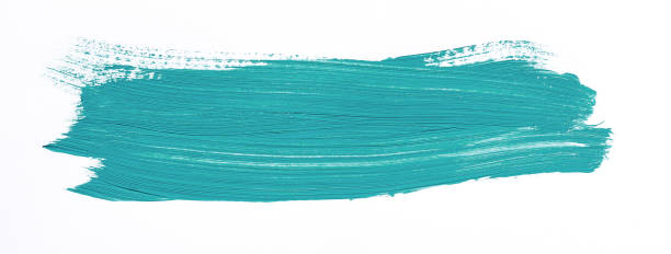 Painting of different colors Turquoise brush stroke isolated over white background brush stroke stock pictures, royalty-free photos & images