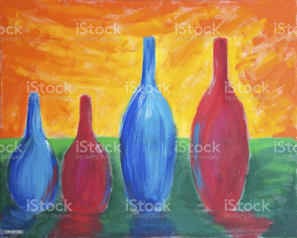 Painting of different sized bottles stock photo