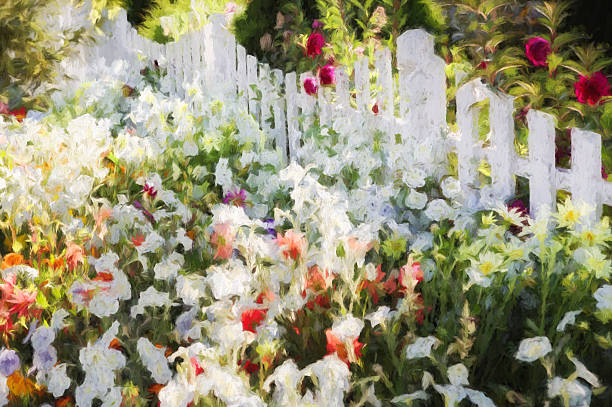 painting of flower bed and fence - impressionist painting stock photos and pictures