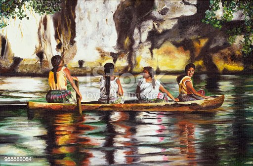 istock Painting of four Indians sailing on a boat on canvas 955586084