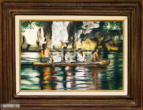 istock Painting of four Indians sailing on a boat on canvas 955586126