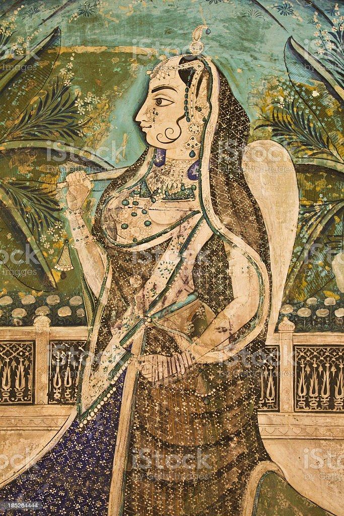 Painting of Indian Princess stock photo