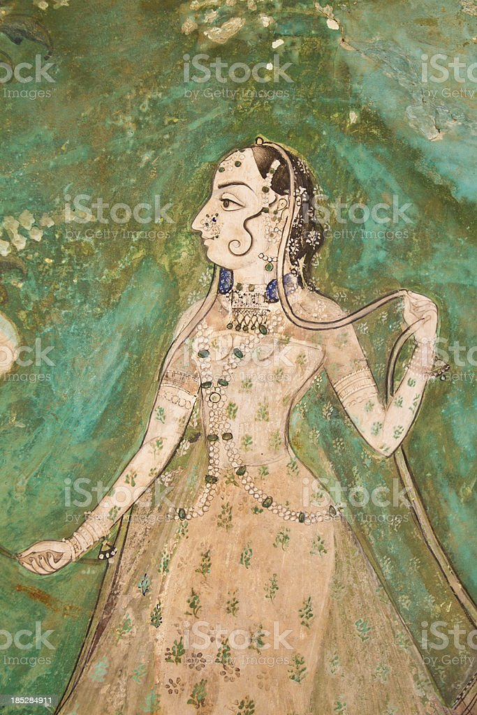 Painting of Indian Woman stock photo