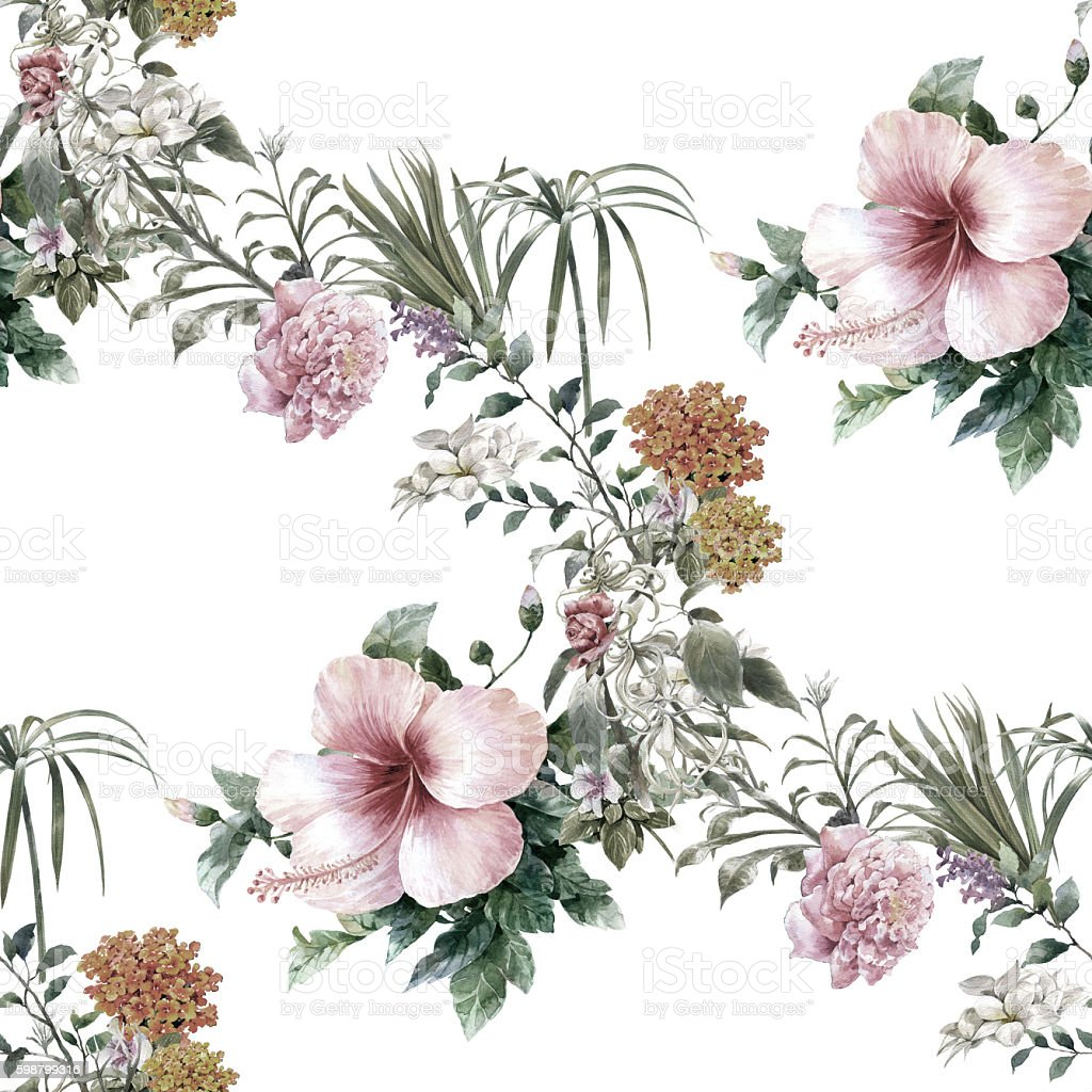 painting of leaf and flowers, seamless pattern stock photo
