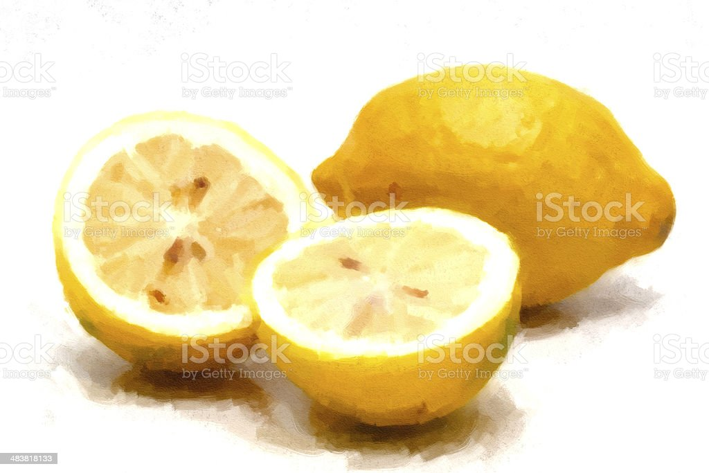 Painting of Lemons fruit stock photo