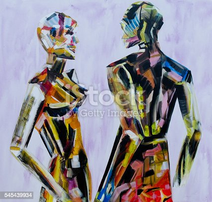 istock Painting of mannequin,robotic style models interacting 545439934