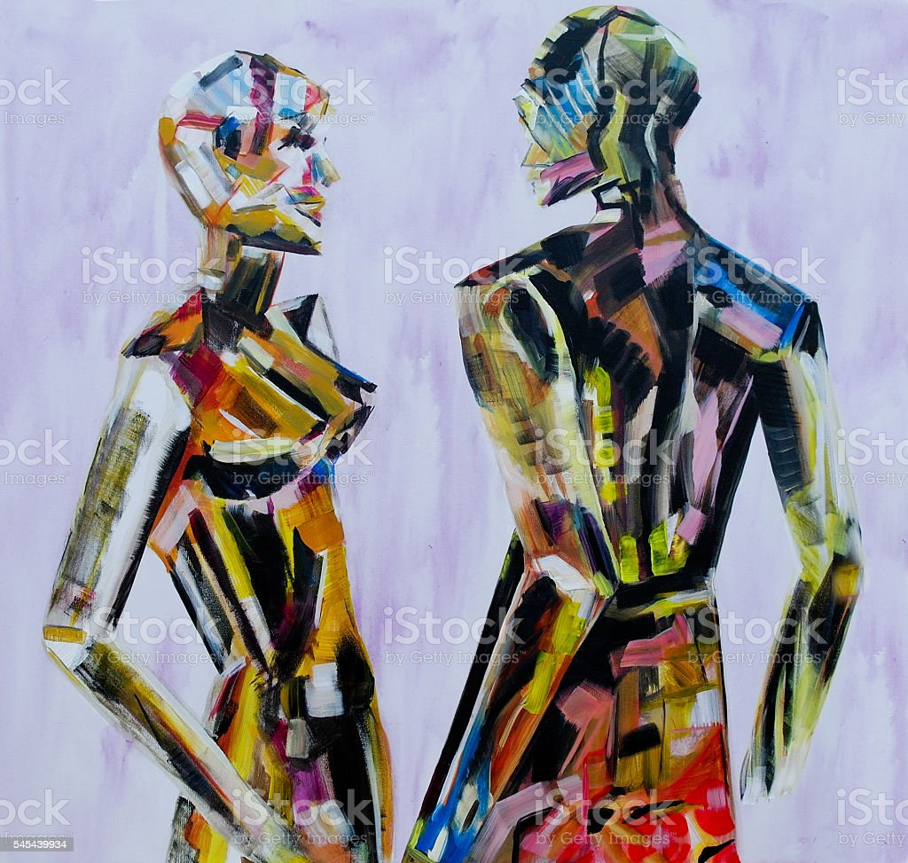 Painting of mannequin,robotic style models interacting stock photo
