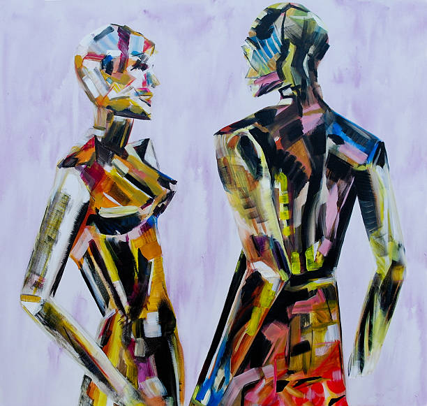painting of mannequin,robotic style models interacting - acrylbilder modern stock-fotos und bilder