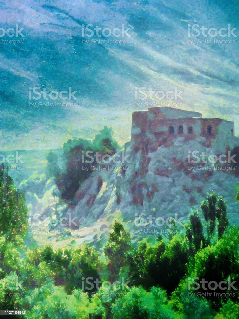 Painting of old house in nature, Landscape with an old house in the...