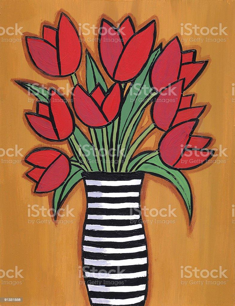 Malen Rote Tulpen In Vase Mit Streifen Stockfoto Und Mehr Bilder Von