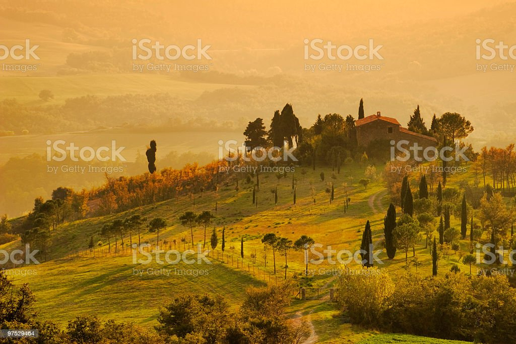 Painting of Tuscany farm at sunrise stock photo