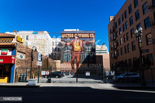 istock Painting of Victor Clothing Co in street in Los Angeles, Califoria 1046252256