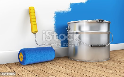 istock Painting of walls in a room with paint roller 624848602
