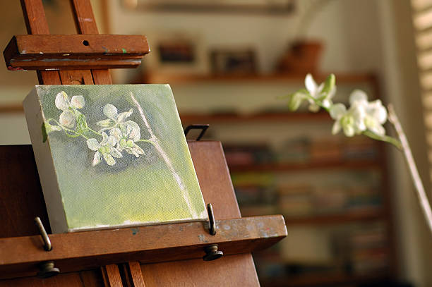 Painting on easel stock photo