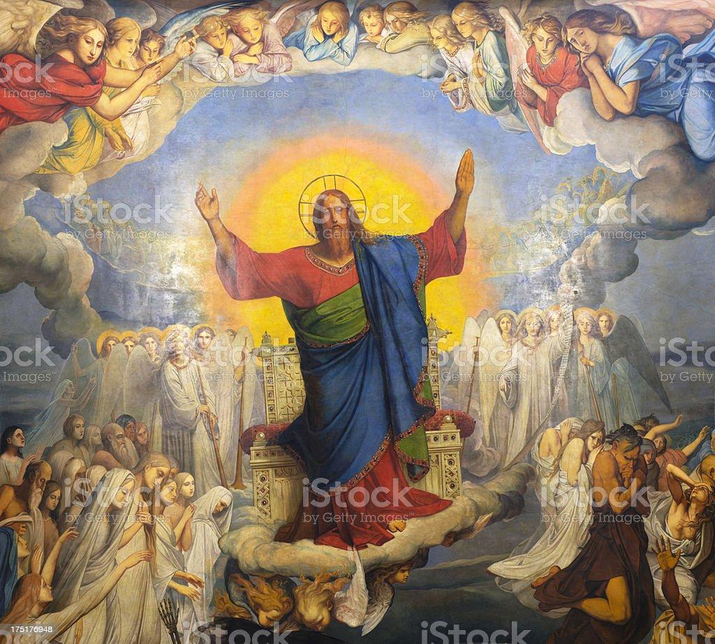 Dipinto sul soffitto della Cattedrale di San Isacco - foto stock