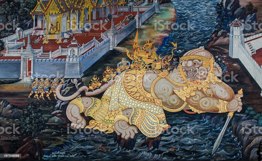 Painting on wall in Wat Phra Kaew. stock photo