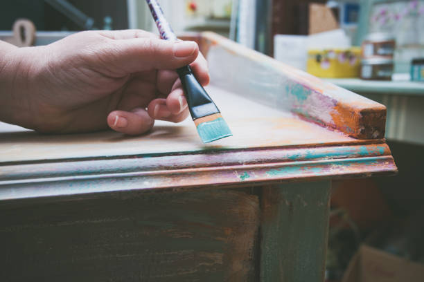 painting parts of furniture stock photo
