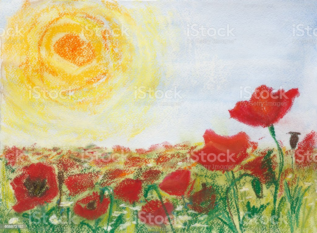 painting pastels and watercolor on paper 'Poppies and sun' stock photo