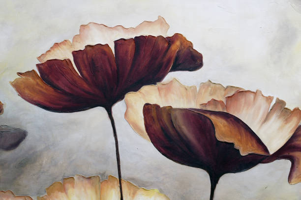 Painting poppies with texture stock photo
