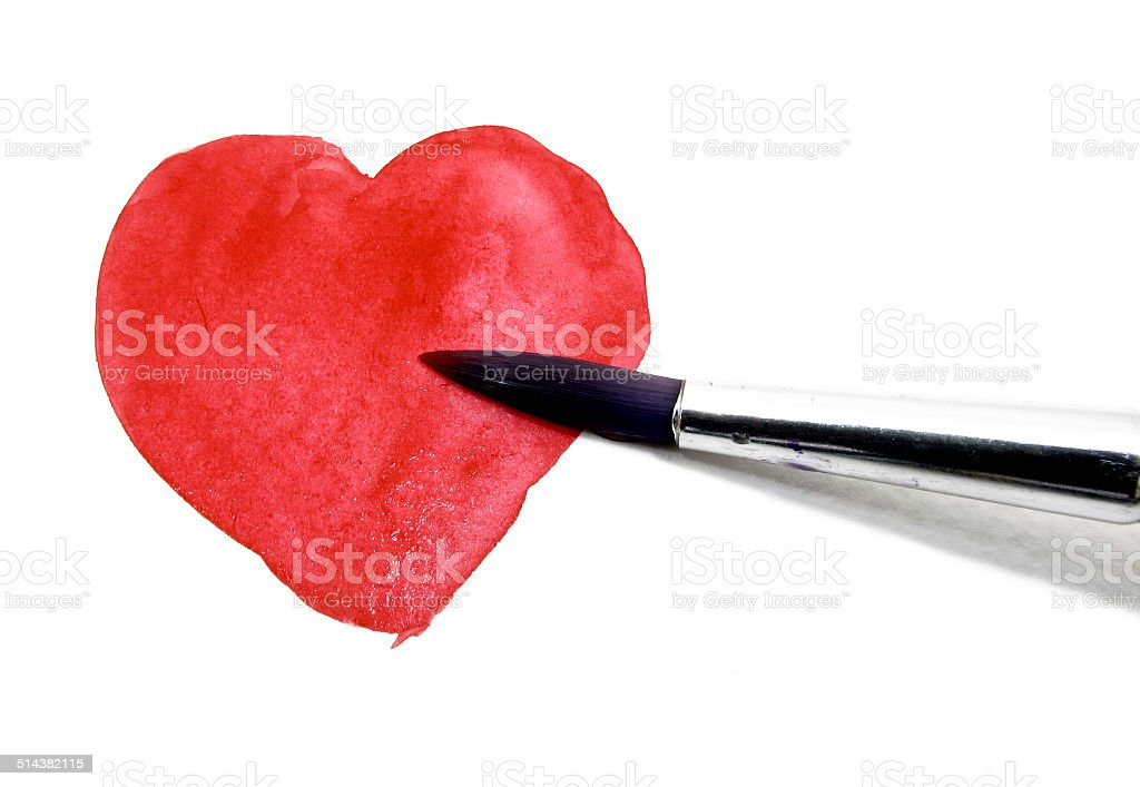 Painting red heart with water color stock photo